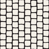 Vector Seamless Black and White Hand Drawn Rectangles Pattern Royalty Free Stock Photo