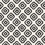 Vector Seamless Black and White Hand Drawn Rhombus Lines Pattern Stock Image