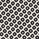 Vector Seamless Black and White Hand Drawn Rhombus Pattern Stock Photography