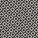 Vector Seamless Black and White Hand Drawn Rhombus Pattern Stock Images