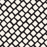 Vector Seamless Black and White Hand Drawn Rhombus Pavement Pattern Stock Photography