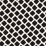 Vector Seamless Black and White Hand Drawn Rhombus Pavement Pattern Stock Photos