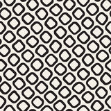 Vector Seamless Black and White Hand Drawn Rounded Rhombus Shapes Pattern Royalty Free Stock Photography