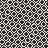Vector Seamless Black and White Hand Drawn Rounded Rhombus Shapes Pattern Stock Images