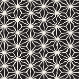 Vector Seamless Black and White Hand Drawn Triangle Star Line Grid Pattern Royalty Free Stock Image