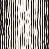 Vector Seamless Black and White Hand Drawn Vertical Wavy Lines Pattern Stock Photography