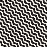 Vector Seamless Black and White Hand Drawn Wavy Diagonal Stripes Pattern Royalty Free Stock Image