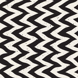 Vector Seamless Black And White Hand Drawn Zig Zag Distorted Lines Retro Pattern Stock Image