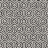 Vector Seamless Black And White Hand Painted Concentric Hexagon Line Geometric HoneyComb Pattern Stock Image