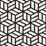 Vector Seamless Black And White Hand Painted Line Geometric Cubic Pavement Pattern Stock Images