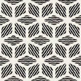 Vector Seamless Black And White Hand Painted Line Geometric Rhombus Stripes Pattern. Abstract Background Royalty Free Stock Photos