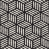 Vector Seamless Black And White Hand Painted Line Geometric Stripes Cube Pattern Stock Photography