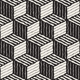 Vector Seamless Black And White Hand Painted Line Geometric Stripes Shaded Cube Pattern. Abstract Background Royalty Free Stock Photo