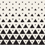 Vector Seamless Black And White Hand Painted Line Geometric Triangles Halftone Gradient Pattern Stock Photo