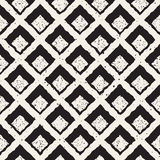 Vector Seamless Black And White Hand Painted Line   Rhombus Grid Waffel Pattern Royalty Free Stock Photography