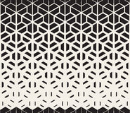 Vector Seamless Black and White Hexagon Triangle Split Lines Halftone Gradient Pattern Royalty Free Stock Photos
