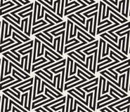 Vector Seamless Black And White Hexagonal Geometric Star Maze Islamic Line Pattern Stock Photography