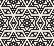 Vector Seamless Black And White Hexagonal Star Islamic Ornamental Pattern Stock Images