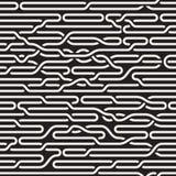 Vector Seamless Black and White Irregular Horizontal Braid Lines Pattern Stock Image