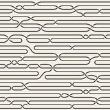Vector Seamless Black and White Irregular Horizontal Braid Lines Pattern Royalty Free Stock Images