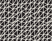 Vector Seamless Black And White Irregular Triangle Lines Grid Structure Pattern Royalty Free Stock Photography