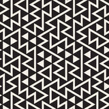 Vector Seamless Black and White Irregular Triangles Grid Pattern Stock Photos
