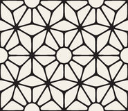 Vector Seamless Black and White Lace Floral Pattern. Abstract Geometric Background Design Royalty Free Stock Photos