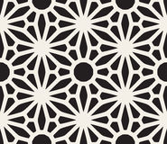 Vector Seamless Black and White Lace Floral Pattern. Abstract Geometric Background Design Stock Photos