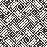 Vector Seamless Black And White Lines Pattern Abstract Background. Cross Shapes Geometric Tiling Ornament. Vector Seamless Black And White Lines Pattern Royalty Free Stock Image