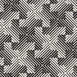 Vector Seamless Black And White Lines Pattern Abstract Background. Cross Shapes Geometric Tiling Ornament. Vector Seamless Black And White Lines Pattern Stock Photos