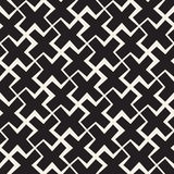 Vector Seamless Black And White Lines Pattern Abstract Background. Cross Shapes Geometric Tiling Ornament. Stock Photo