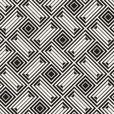 Vector Seamless Black And White Lines Pattern Abstract Background. Cross Shapes Geometric Tiling Ornament. Vector Seamless Black And White Lines Pattern Royalty Free Stock Photo