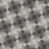 Vector Seamless Black And White Lines Pattern Abstract Background. Cross Shapes Geometric Tiling Ornament. Stock Photography