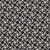 Vector Seamless Black And White Lines Pattern Abstract Background. Cross Shapes Geometric Tiling Ornament. Royalty Free Stock Image