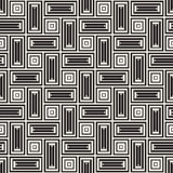 Vector Seamless Black And White Lines Pattern Abstract Background. Cross Shapes Geometric Tiling Ornament. Royalty Free Stock Photos