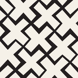 Vector Seamless Black And White Lines Pattern Abstract Background. Cross Shapes Geometric Tiling Ornament. Vector Seamless Black And White Lines Pattern Royalty Free Stock Images