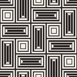 Vector Seamless Black And White Lines Pattern Abstract Background. Cross Shapes Geometric Tiling Ornament. Vector Seamless Black And White Lines Pattern Royalty Free Stock Photography