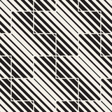 Vector Seamless Black And White Lines Pattern Abstract Background. Cross Shapes Geometric Tiling Ornament. Stock Images