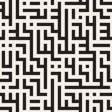 Vector Seamless Black And White Maze Lines Geometric Pattern Royalty Free Stock Photos