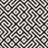 Vector Seamless Black And White Maze Lines Geometric Pattern Stock Images