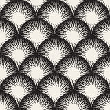 Vector Seamless Black and White Optical Art ZigZag Rays Round Circles Pattern Royalty Free Stock Images