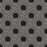 Vector Seamless Black and White Optical Art ZigZag Rays Round Circles Pattern Stock Photography