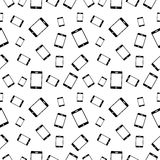 Vector seamless black and white pattern with mobile phones. Series of Technology Backgrounds Royalty Free Illustration