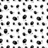 Vector seamless black and white pattern with pc mouses. Royalty Free Stock Photos