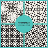 Vector Seamless  Black and White Rectangle Triangle Square Grid Simple Geometric Pattern Set Stock Photography