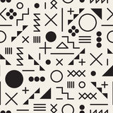 Vector Seamless Black and White Retro 80's Jumble Geometric Line Shapes Hipster Pattern. Abstract Background vector illustration