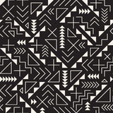 Vector Seamless Black and White Retro 80's  Jumble Geometric Line Shapes Hipster Pattern Stock Photo