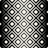 Vector Seamless Black & White Rhombus Halftone Grid Pattern Royalty Free Stock Images