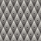Vector Seamless Black and White Rhombus Shape Concentric Lines Geometric Optical Illusion Pattern stock illustration