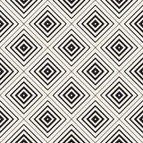 Vector Seamless Black and White Rhombus Tiling  Pattern. Concentric Lines Increasing Stroke Weight Towards The Shape Center Stock Image